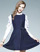 Maglietta Pantalone Completi abbigliamento Da donna Per uscire Casual Moda città Autunno,Tinta unita Colletto Con fiocco Manica lunga