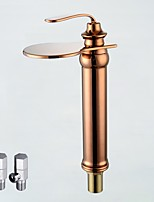Contemporary Deck Mounted Waterfall with  Ceramic Valve Single Handle One Hole for  Rose Gold , Bathroom Sink Faucet