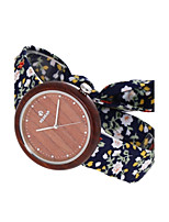 Women's Fashion Watch Wood Watch Japanese Quartz Wooden Fabric Band Charm Elegant Casual Navy