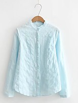 Women's Going out Casual/Daily Simple Cute Street chic Spring Fall Shirt,Solid Stand Long Sleeves Others Thin Medium