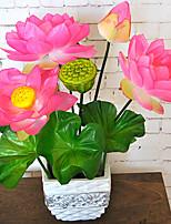 1 Branch Plastic Plants Tabletop Flower Lotus Artificial Flowers
