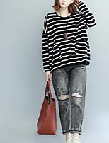 T-shirt Da donna Casual Semplice Autunno,A strisce Rotonda Cotone Manica lunga Medio spessore