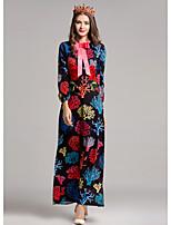 Damen Hülle Kleid-Ausgehen Druck Rundhalsausschnitt Maxi Langarm Polyester Herbst Mittlere Hüfthöhe Mikro-elastisch Mittel