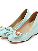 Women's Shoes PU Spring Fall Comfort Novelty Heels Wedge Heel Pointed Toe Bowknot Rivet For Wedding Party & Evening Blushing Pink Blue