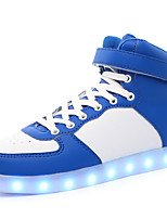 Boys' Shoes Leatherette Fall Winter Light Up Shoes Comfort Sneakers Magic Tape LED Lace-up For Casual Outdoor Blushing Pink Blue Black