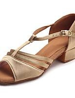 Kids' Latin Satin Sandal Heel Practice Buckle Chunky Heel Beige 1