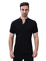 Men's Plus Size Casual/Daily Simple Summer Polo,Solid Letter V Neck Short Sleeves Cotton Spandex Medium