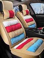 Rainbow Striped Plush Car Seat Cushion Material Winter Seat Cover Surrounded By AFive Seat-Beige