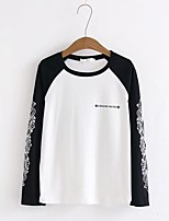 Women's Going out Casual/Daily Simple Cute Street chic Spring Fall T-shirt,Solid Print Color Block Round Neck Long Sleeves Cotton Medium