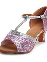 Women's Latin Sparkling Glitter Glitter Leatherette Sandal Heel Beginner Sequin Buckle Sparkling Glitter Cuban Heel Blushing Pink 2 - 2