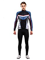 Cycling Jersey with Tights Men's Long Sleeves Bike Clothing Suits YKK Zipper Stretchy Breathability Nylon Elastane Chinlon Terylene Stripe