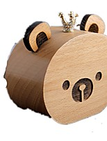 Music Box Wind-up Toy Toys Bear Crystal Wood Pieces Unisex Birthday Valentine's Day Gift