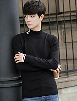 Men's Casual/Daily Regular Pullover,Solid Crew Neck Long Sleeves Cotton Fall Medium Micro-elastic