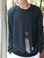 Men's Casual/Daily Sweatshirt Solid Round Neck Micro-elastic Cotton Others Long Sleeve Fall
