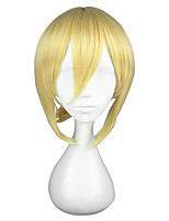 Women Synthetic Wig Capless Short Straight Golden Blonde Braided Wig Cosplay Wig Costume Wig