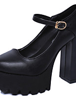 Women's Shoes PU Spring Summer Gladiator Comfort Heels Chunky Heel Round Toe Buckle For Office & Career Party & Evening Dress Black