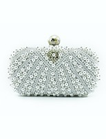 Women Bags All Seasons PU Shoulder Bag Beading for Wedding Event/Party White Black Blushing Pink Milky White