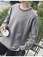 Men's Casual/Daily Sweatshirt Solid Round Neck Micro-elastic Cotton Polyester Long Sleeve Fall