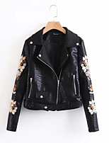 Women's Sports Going out Casual/Daily Simple Active Street chic Spring Fall Leather Jacket,Solid Print Shawl Lapel Long Sleeve Regular PU