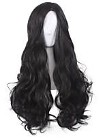 Damen Synthetische Perücken Kappenlos Mittel Lang Wellig Stark gelockt Schwarz Natürlicher Haaransatz Mittelscheitel Stufenhaarschnitt