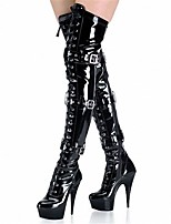 Femme Chaussures Similicuir Printemps Hiver Bottes à la Mode Bottes Talon Aiguille Plateforme Bout rond Cuissarde Boucle Lacet Pour