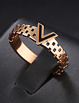 Women's Band Rings Personalized Elegant Titanium Steel Rose Gold Plated Circle Jewelry For Wedding Evening Party