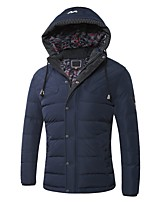 Men's Regular Padded Coat,Simple Casual/Daily Solid-Polyester Cotton Long Sleeves