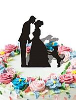 inserções de bolo de acrílico noiva abstrata noiva e bolo de cão para decoração de casamento