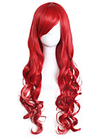 Women Synthetic Wig Capless Long Body Wave Red Side Part Halloween Wig Costume Wigs