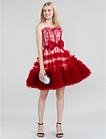 A-Line Princess Jewel Neck Short / Mini Lace Tulle Cocktail Party Dress with Bow(s) Sash / Ribbon Tiered by TS Couture®