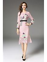 Damen Hülle Spitze Kleid-Ausgehen Lässig/Alltäglich Einfach Street Schick Stickerei Rundhalsausschnitt Midi Langarm Polyester Frühling