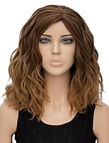 Women Synthetic Wig Capless Short Water Wave Light Brown Ombre Hair Halloween Wig Costume Wig