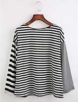T-shirt Da donna Casual Semplice Autunno,A strisce Girocollo Cotone Manica lunga Sottile
