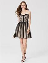 Linea-A Da principessa Con decorazione gioiello Corto / mini Di pizzo Tulle Cocktail Vestito con Con strass A pieghe di TS Couture®