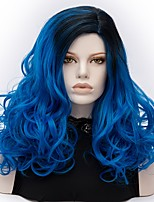 Donna Parrucche sintetiche Senza tappo Medio Onda riccia Blu Capelli schiariti Parrucca di Halloween costumi parrucche