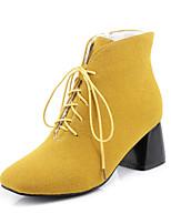 Femme Chaussures Cuir Nubuck Similicuir Automne Hiver Bottes à la Mode boîtes de Combat Bottes Gros Talon Bout carré Bout fermé