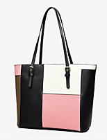 Women Bags All Seasons PU Tote Zipper for Casual Office & Career Blushing Pink Gray