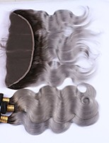 Human Hair Brazilian Hair Weft with Closure Body Wave Hair Extensions 4 Pieces Black/Grey