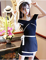 Women's Casual/Daily Simple Summer Tank Top Skirt Suits,Solid Boat Neck Sleeveless Micro-elastic