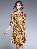 Linea A Fodero Vestito Da donna-Per uscire Casual Semplice Moda città Sofisticato Fantasia floreale Colletto alla coreana Sopra il
