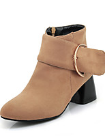 Women's Shoes Leatherette Fall Winter Fashion Boots Bootie Boots Chunky Heel Closed Toe Booties/Ankle Boots Buckle Zipper For Casual Dress