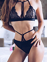 Women's Lace Lingerie Matching Bralettes Ultra Sexy Suits Nightwear,Sexy Solid-Thin Polyester