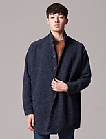 Men's Going out Regular Cardigan,Solid Stand Long Sleeves Others Spring Winter Medium Micro-elastic
