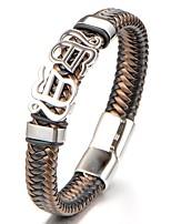 Муж. Мальчики Браслет цельное кольцо Браслет Бижутерия Мода Классика Кожа Титановая сталь Геометрической формы Бижутерия Назначение
