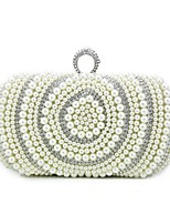 Women Bags All Seasons PU Shoulder Bag Beading for Wedding Event/Party Beige