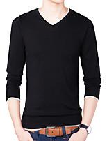 Men's Casual/Daily Simple Regular Pullover,Solid V Neck Long Sleeves Spandex Spring Fall Medium Micro-elastic