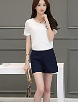Women's Going out Simple Summer T-shirt Pant Suits,Solid Round Neck Short Sleeve Micro-elastic
