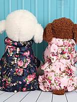 Dog Clothes/Jumpsuit Dog Clothes Casual/Daily Floral/Botanical Blushing Pink Blue