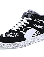 Men's Shoes PU Fall Winter Comfort Sneakers Lace-up For Casual Outdoor Black/Blue Black/Red Black/White