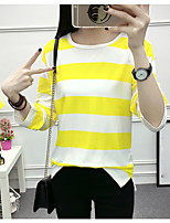 Women's Going out Casual/Daily Simple T-shirt,Solid Striped Round Neck Short Sleeves Cotton